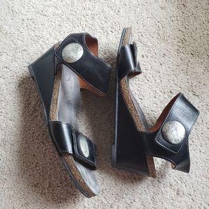 Taos Carousel 2 Black Leather Wedge Sandal